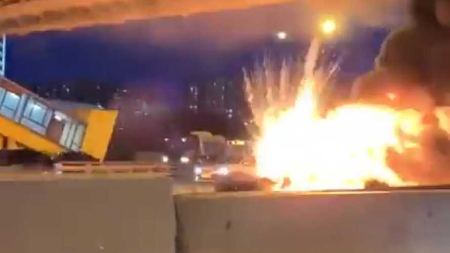 Tesla Model 3 hits truck and explodes in Moscow