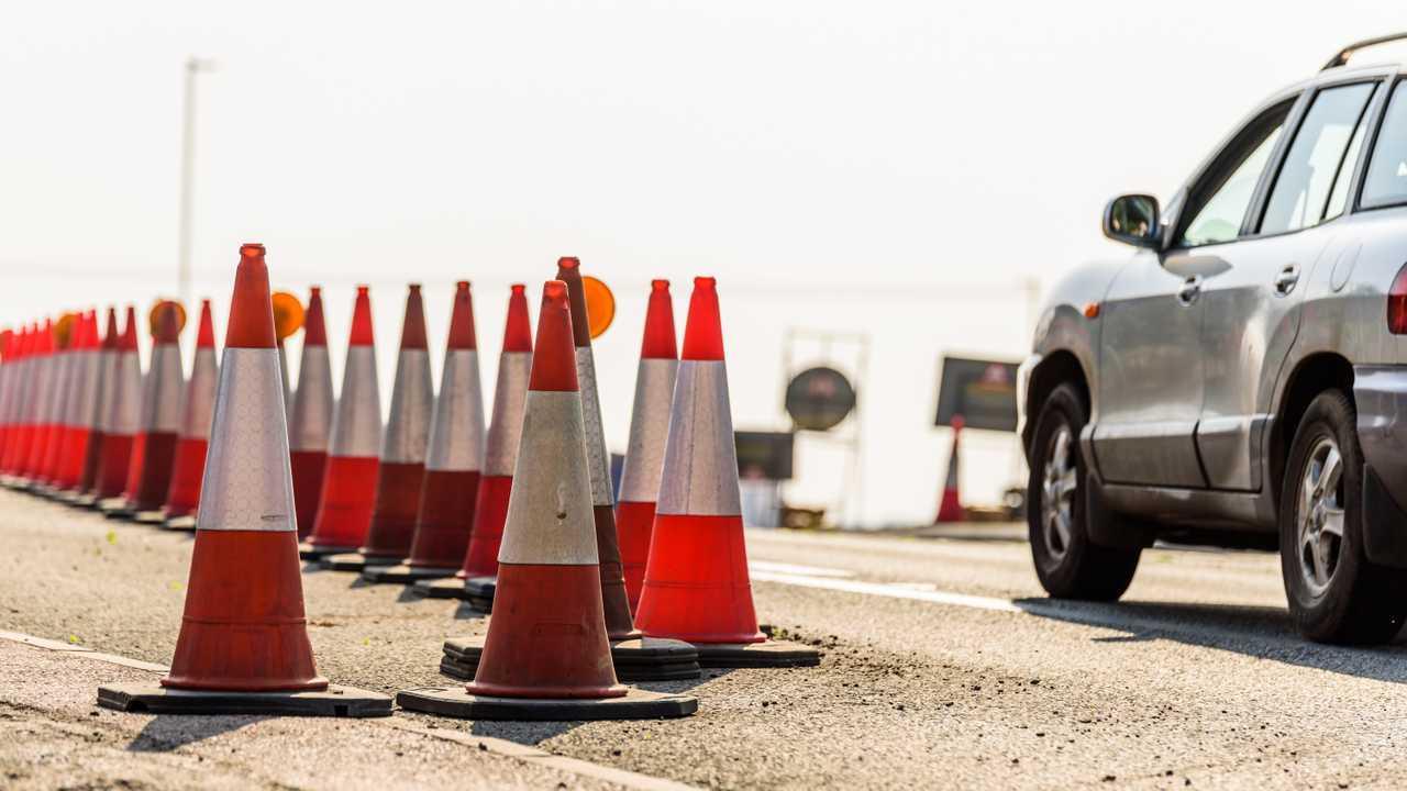 Set of roadworks cones on UK motorway