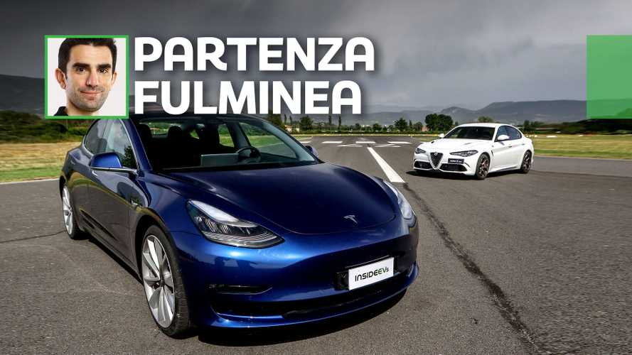 Tesla contro Alfa Romeo. Su InsideEVs.it una drag race