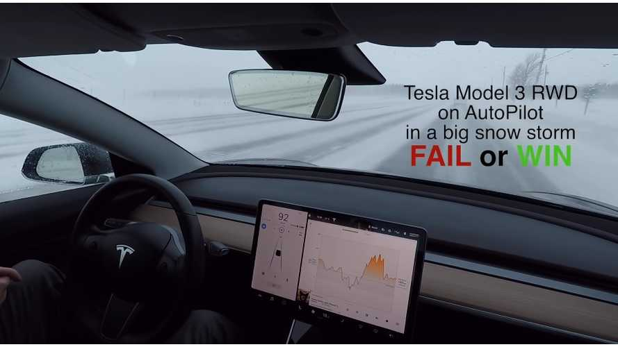 Tesla Model 3 Autopilot In The Snow: Video