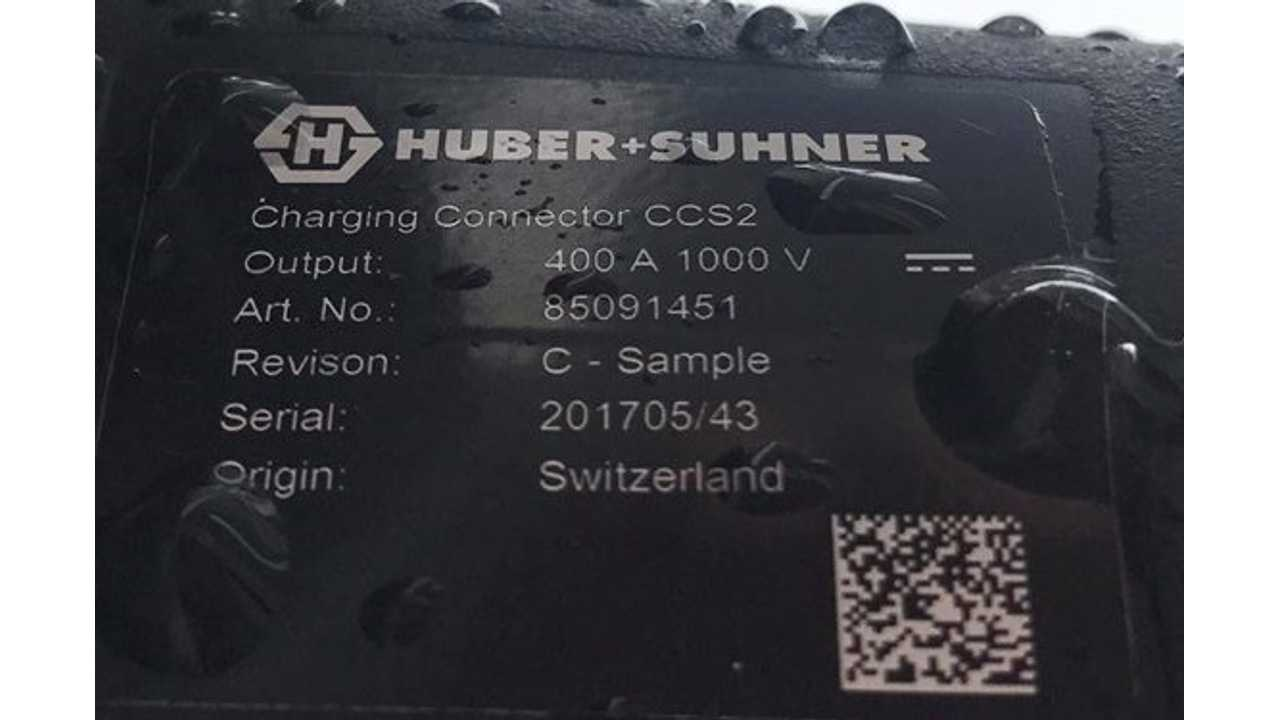 HUBER+SUHNER liquid cooled connector, good for 400 A and 1000 V (source: Elektroauto im Alltag)