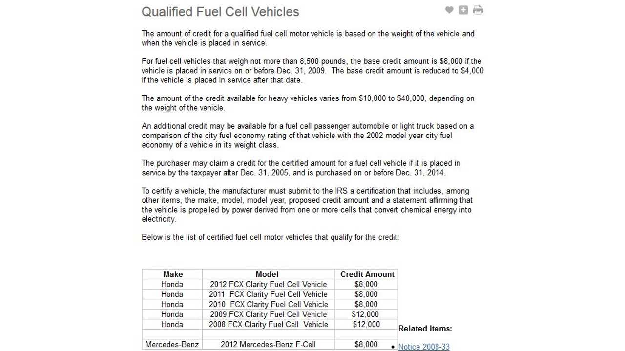 Fuel Cell Vehicle Credit