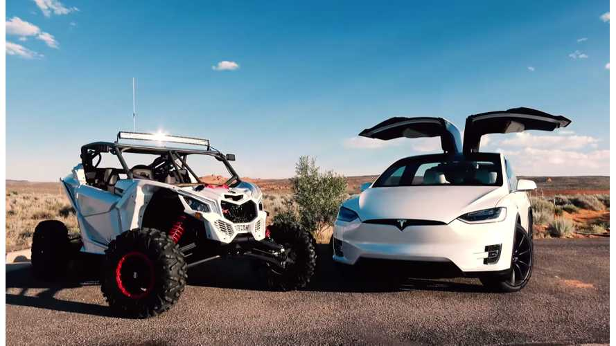 Tesla Model X Versus Can-Am Maverick X3 - Race Video