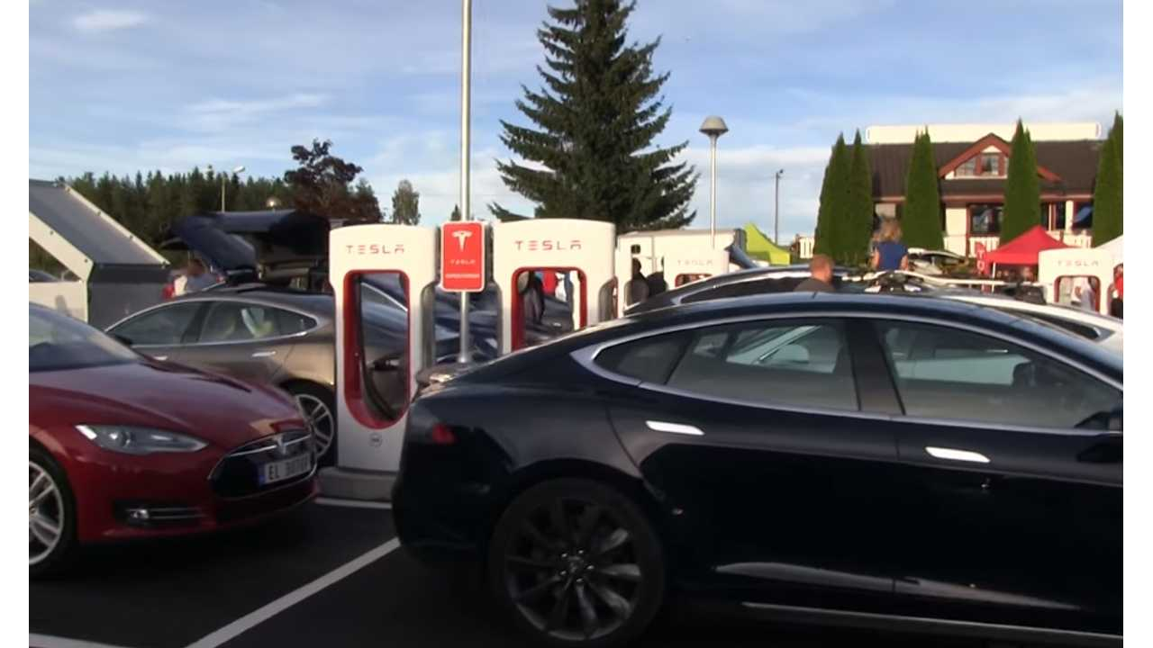 norway largest fast charging station  tesla supercharger 3
