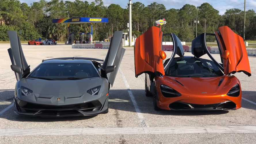 Watch the McLaren 720S vs Aventador SVJ duel in drag race