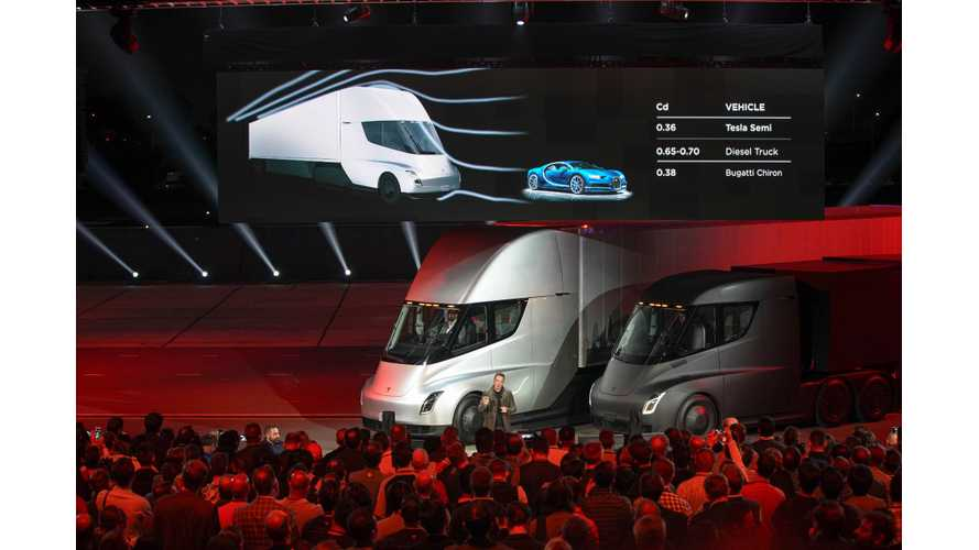 Tesla Semi Revealed - Range Of Up To 500 Miles, Available 2019