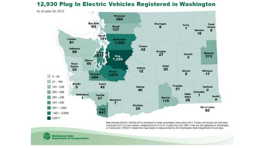 Plug-In Electric Car Registrations By County In State Of Washington