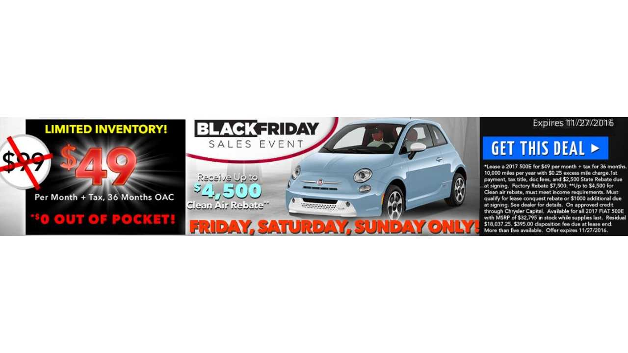 Black Friday Saturday Sunday Lease Deal Fiat 500e For 49 Per Month With 0 Down