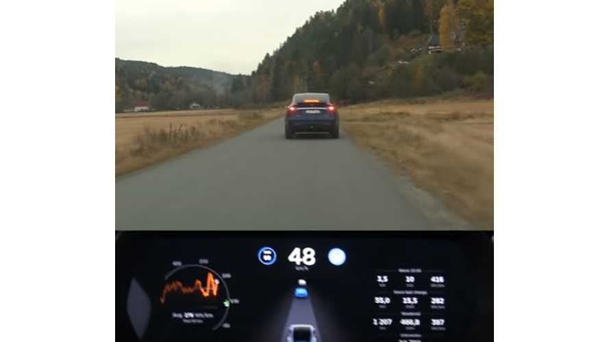 Tesla Model X Sees Two Vehicles Ahead In Automatic Braking Test - Video