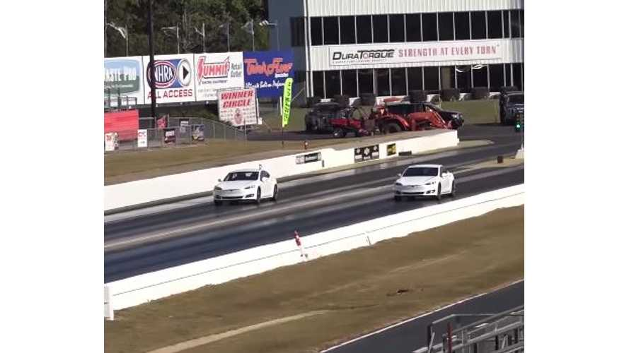 Tesla Model S P100DL Versus P90DL Versus P85DL - Drag Race Video