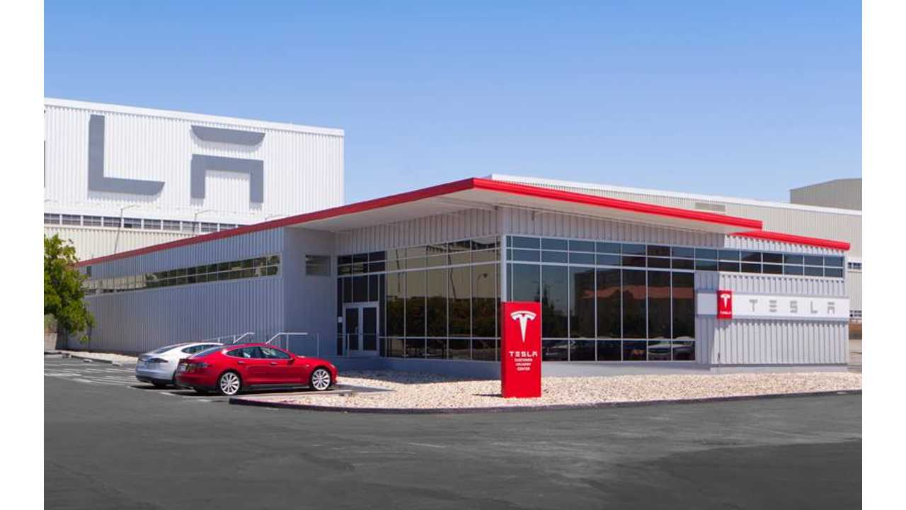 Outside the Tesla factory in Fremont, California