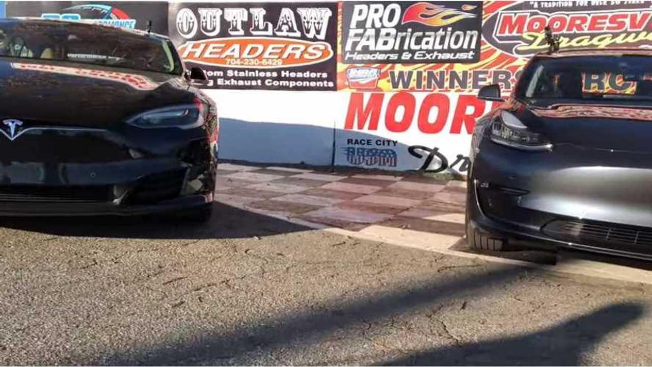 Tesla Model 3 Races Model S 75D & P100D - Video