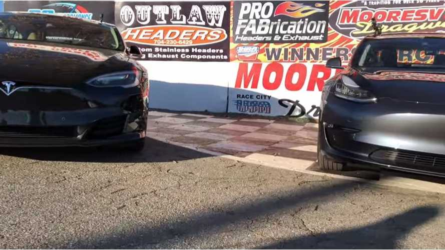 Tesla Model 3 Races Model S 75D & P100D - Video