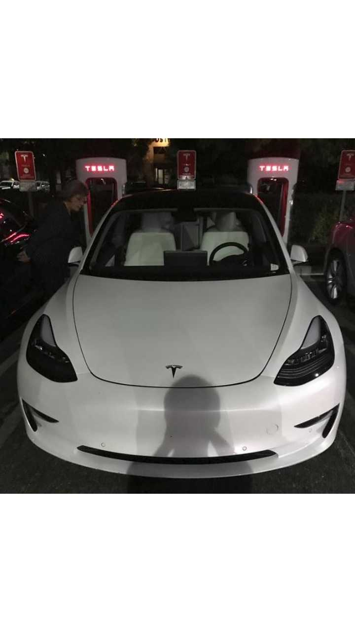 Tesla Model 3 With White Interior Spotted