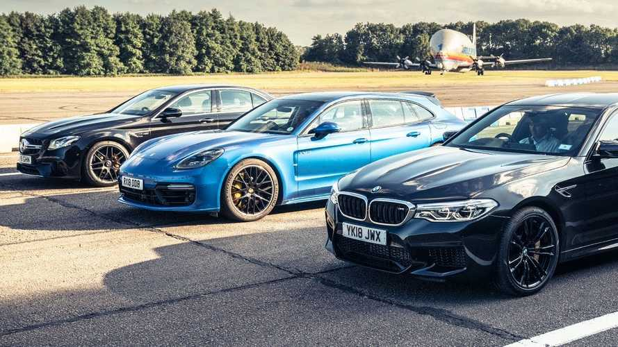 Watch Panamera Turbo S E-Hybrid vs M5, E63 S In Top Gear Drag Race