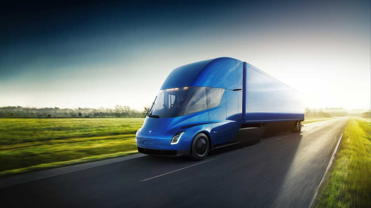 Tesla Semi exterior blue trailer driving