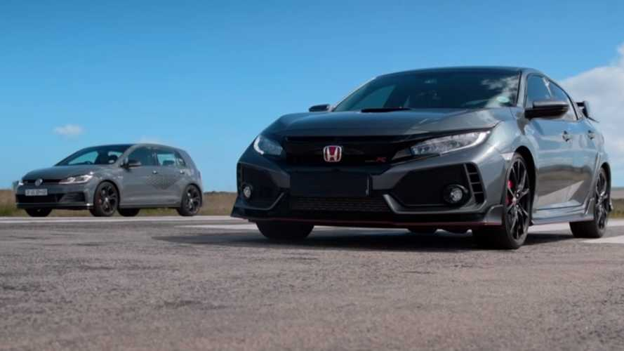 Honda Civic Type R drag races VW Golf GTI TCR in hot hatch showdown