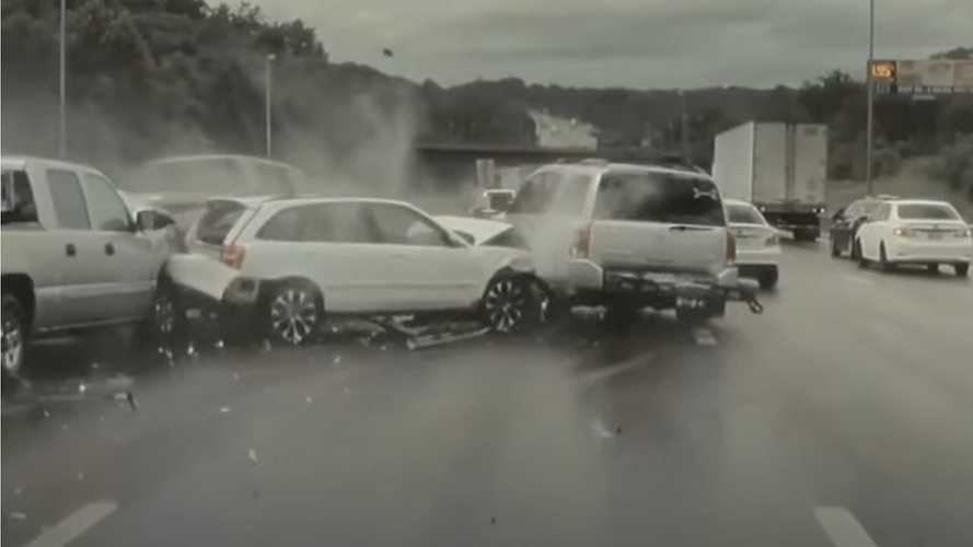 Tesla Model Y With GoPro Captures Multi-Car Highway Crash