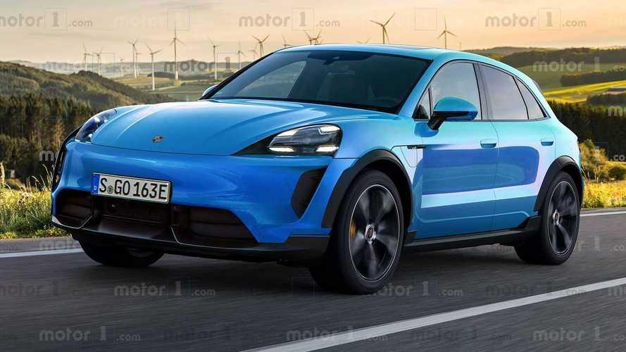 Porsche Macan Elektro (2022) im Rendering von Motor1.com