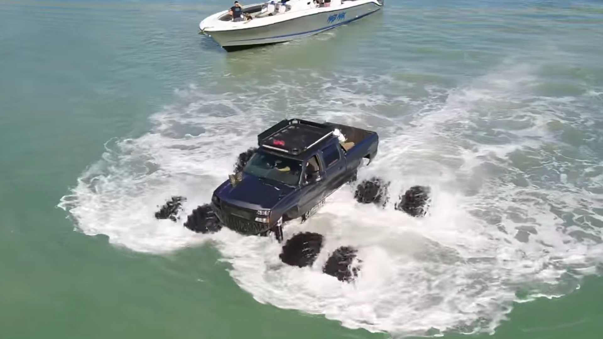 Massive Monstermax Pickup Can Float, Drives Right Into Gulf Of Mexico