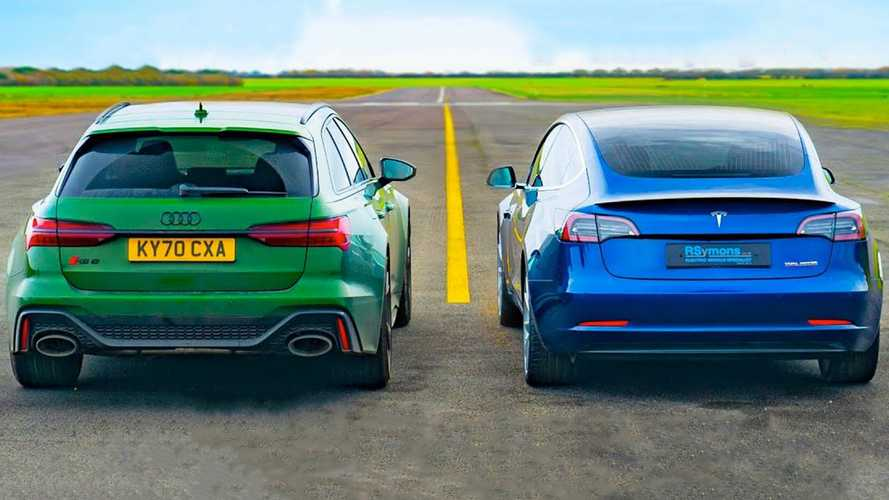 Audi RS6 drag races Tesla Model 3 Performance to expected results