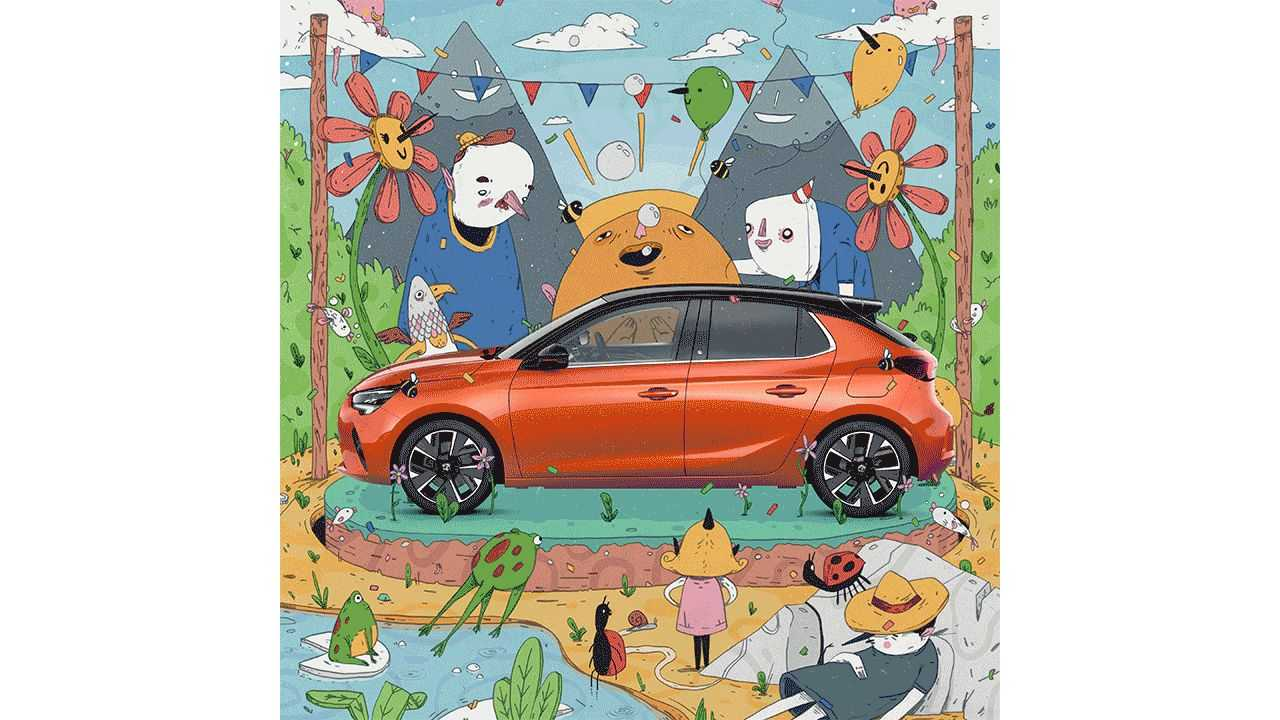 Vauxhall drafts up-and-coming illustrators to promote the Corsa-e.