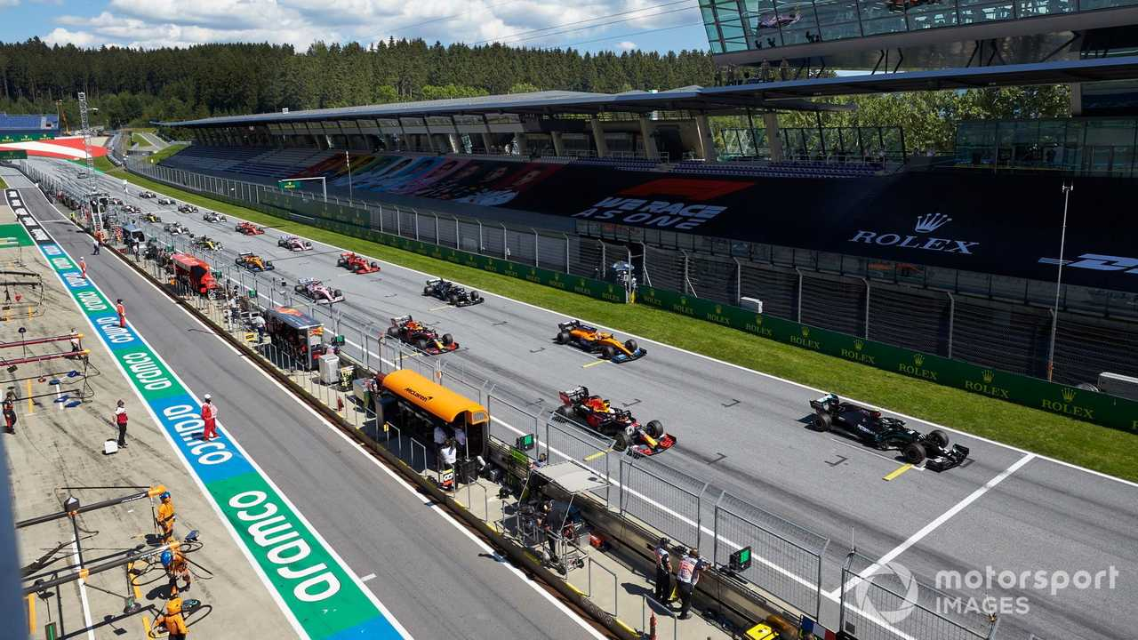 Formula 1 cars on starting grid at Austrian GP 2020