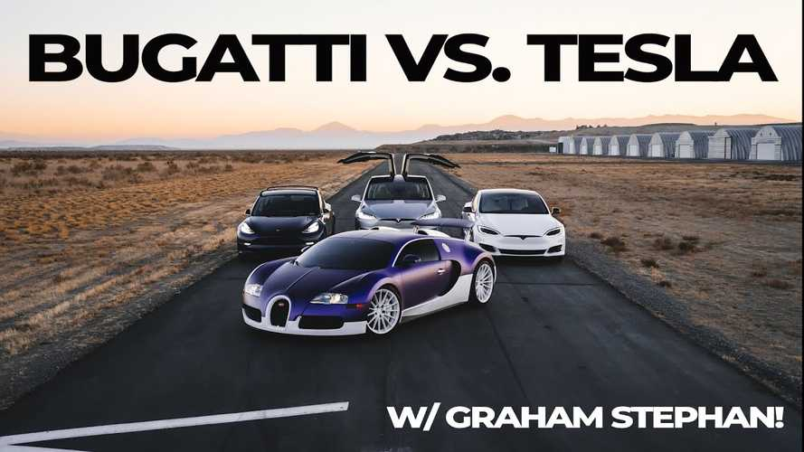 Bugatti Veyron is still quicker than the quickest Teslas - drag races