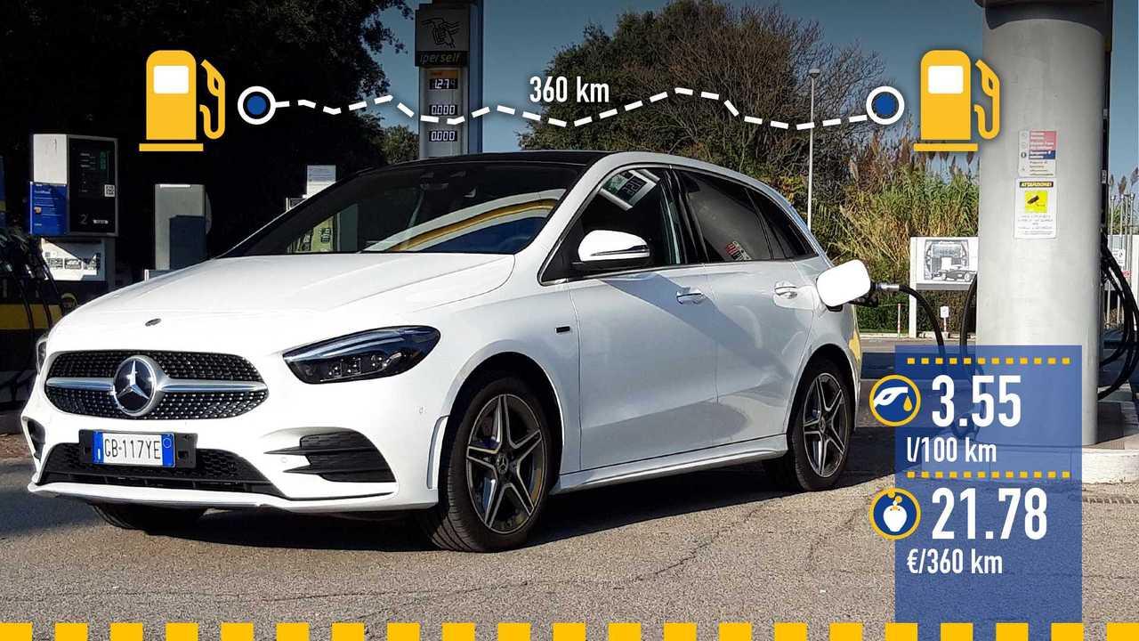 Mercedes Classe B ibrida plug-in, la prova consumi