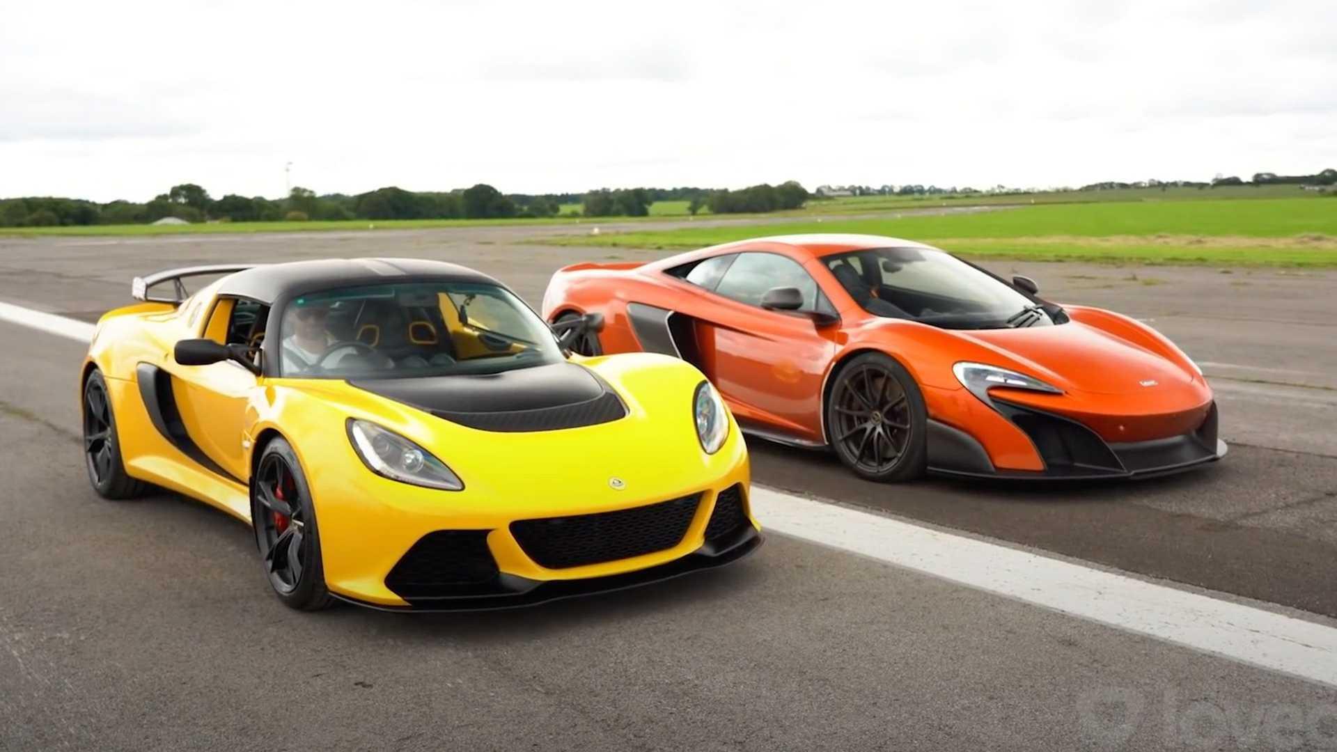 McLaren 675LT vs Lotus Exige V6 Club Racer Drag Race
