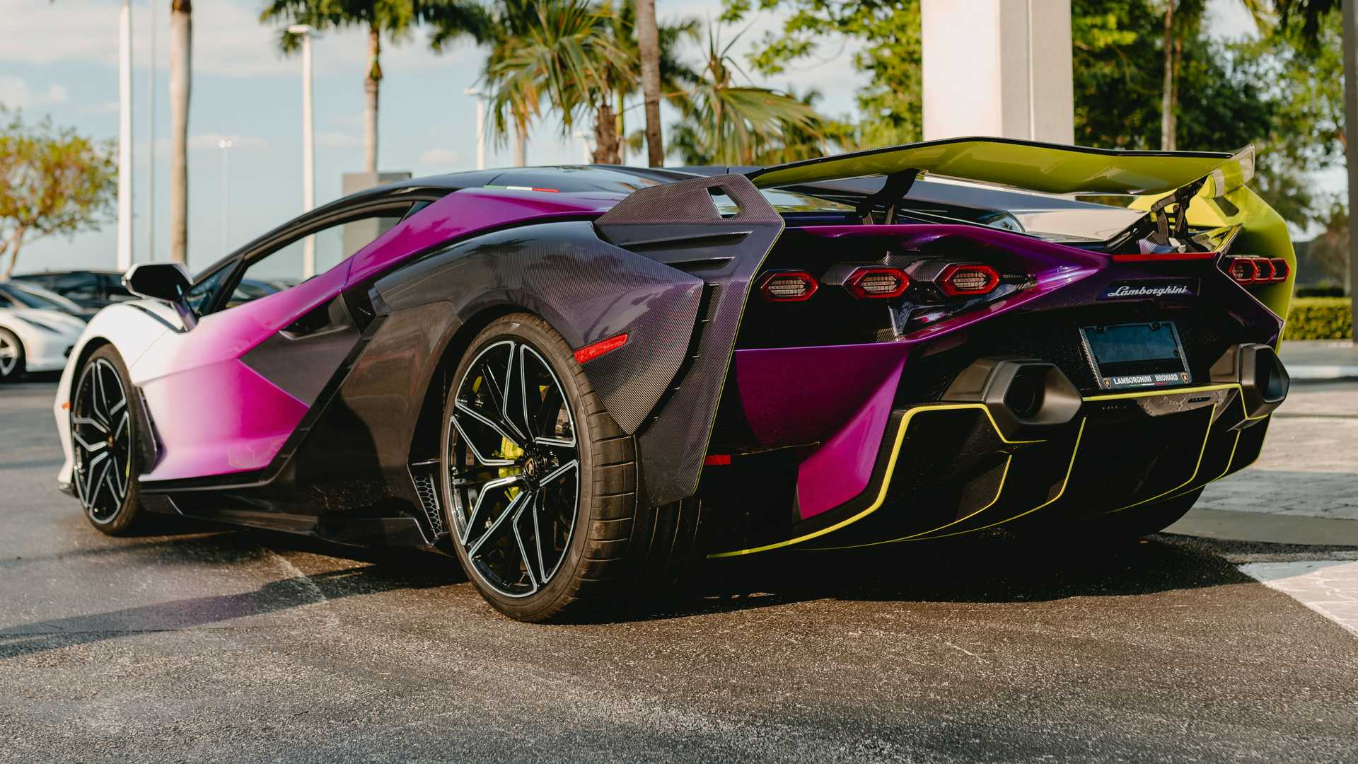 Lamborghini Sian In Purple, Green, And White Rear View Photo By Juan Pablo Saenz