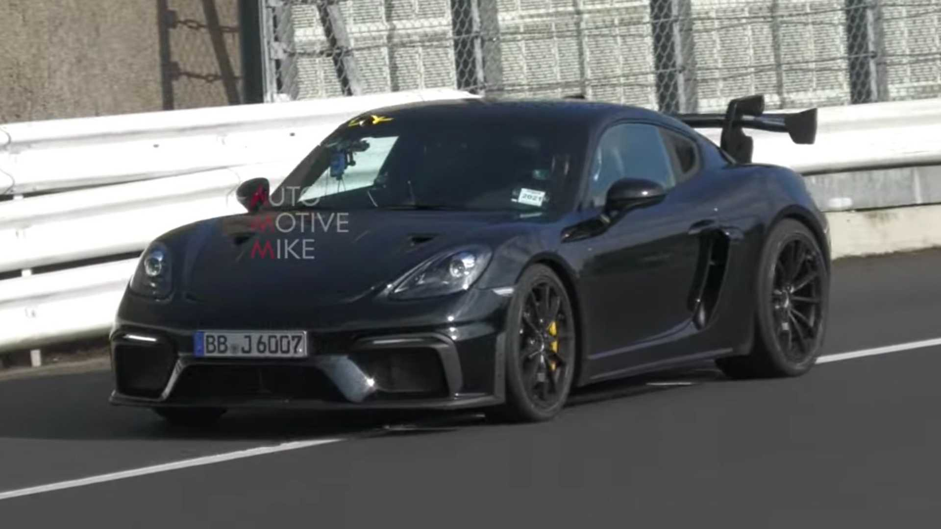 Porsche 718 Cayman GT4 RS Spied On Video Doing Lots Of Nurburgring Laps