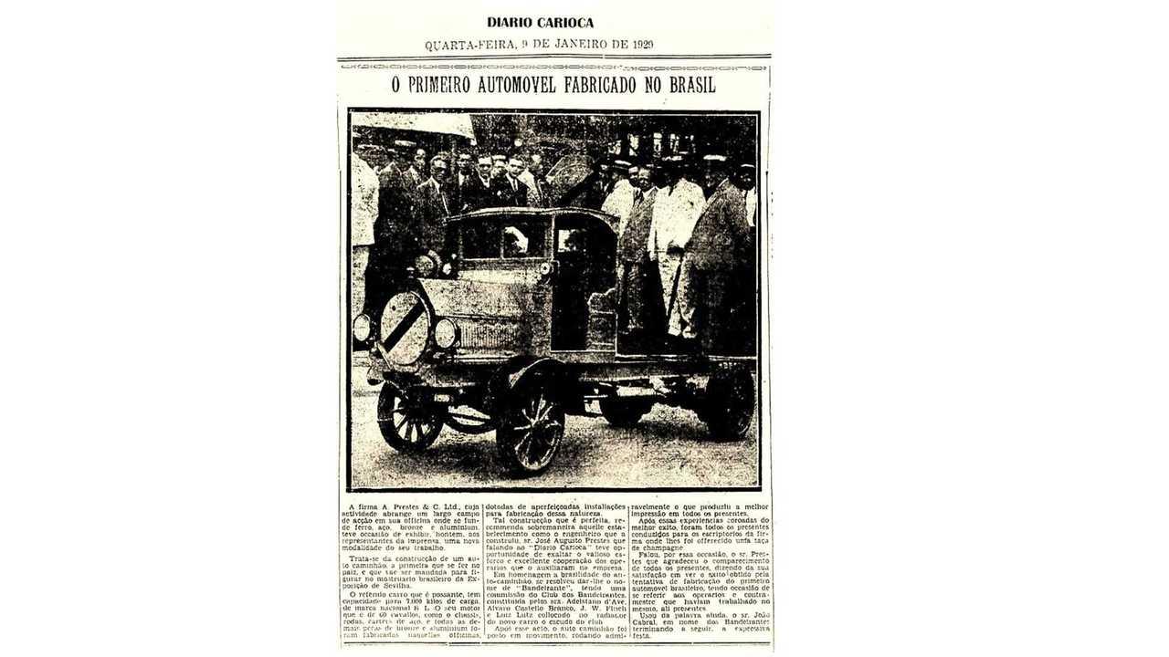 Registro do primeiro automóvel feito no Brasil