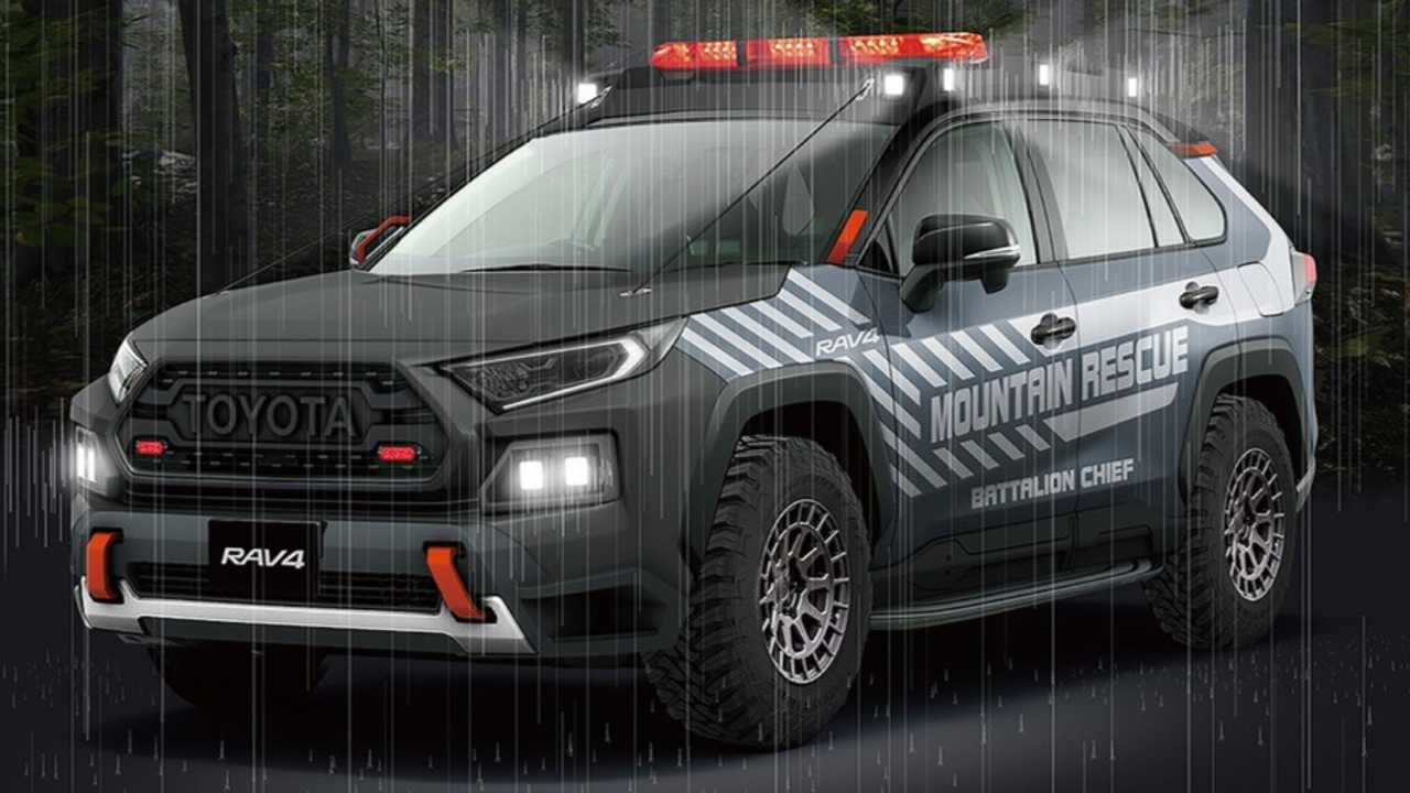 The Toyota RAV4 Mountain Rescue poses in the rain.