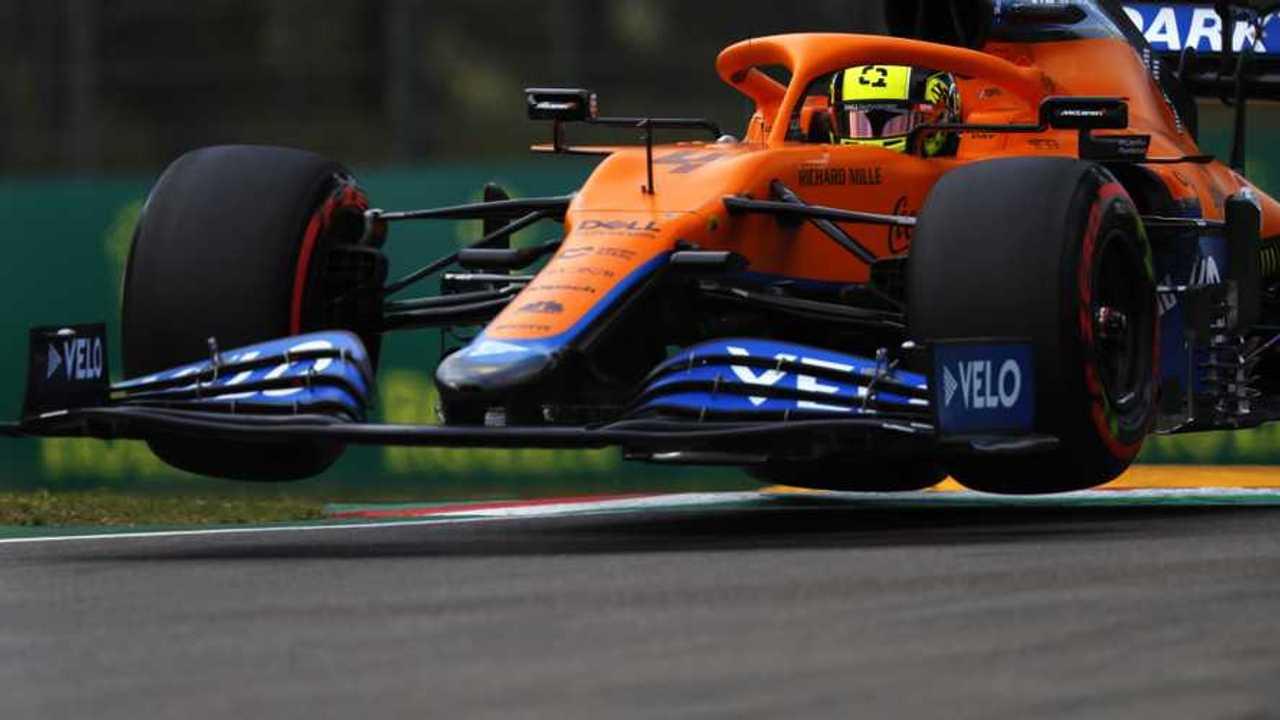 Lando Norris, McLaren MCL35M, in the air