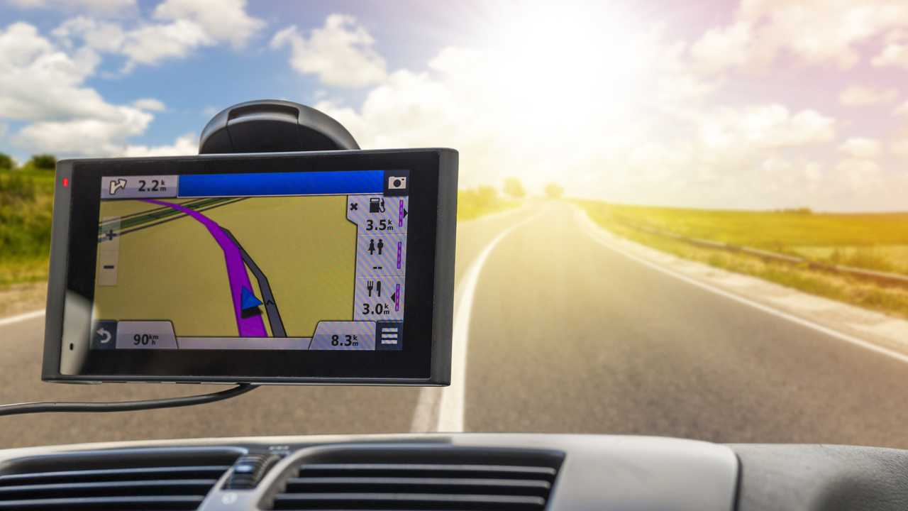 GPS navigation device in travelling car