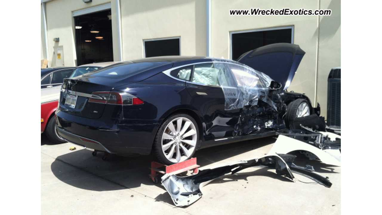 Plug-In Pic Of The Day:  Dark Blue Tesla Model S Has A Bad Day