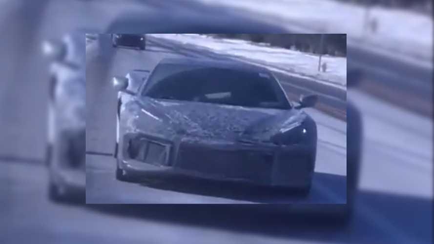 Mid-engined Corvette spied in the snow wearing a new spoiler
