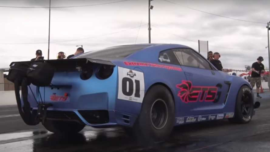 3,000-bhp Nissan GT-R spits out turbine at drag strip