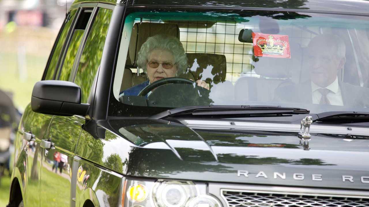 Queen Elizabeth driving her Range Rover