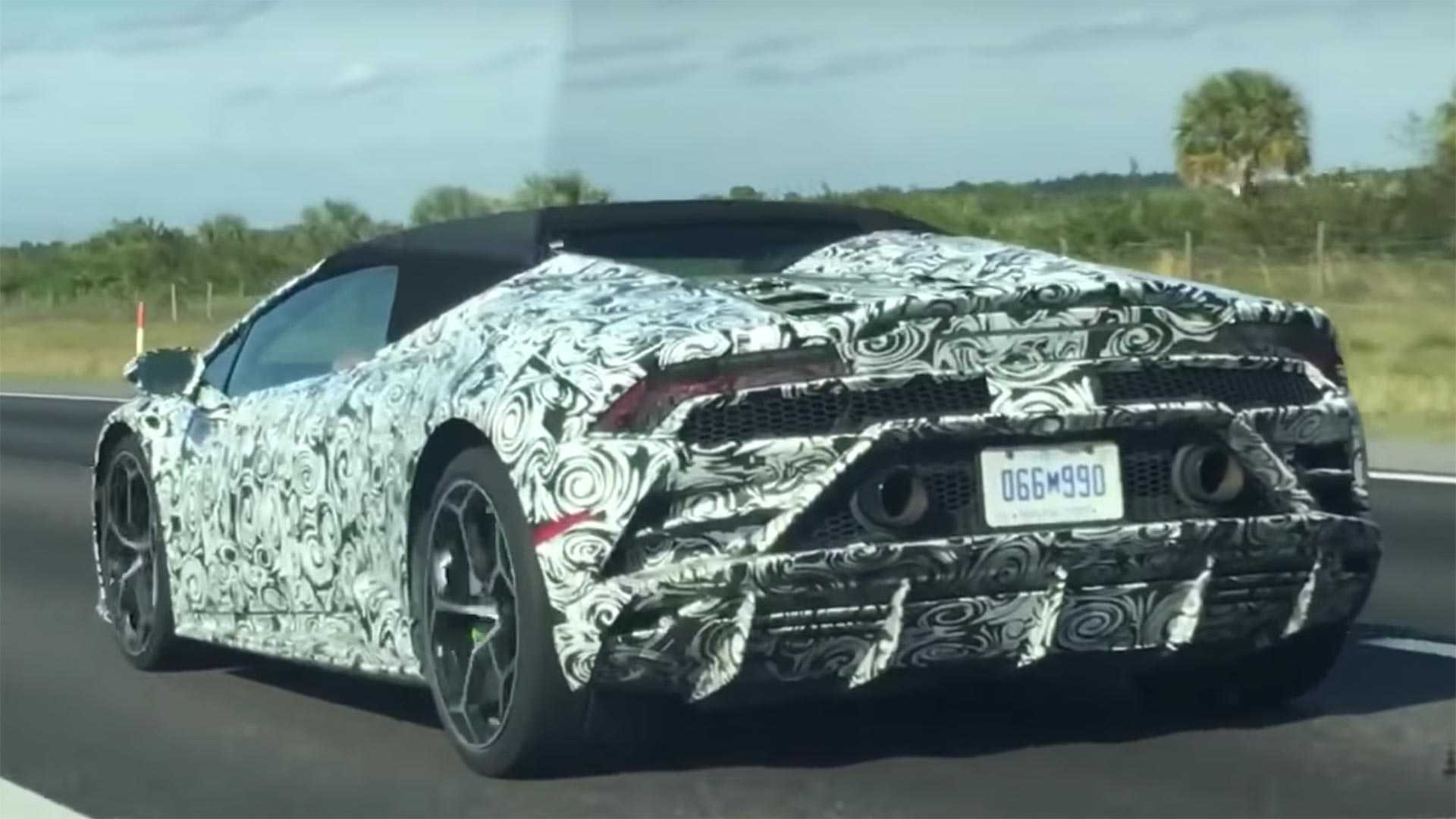 Lamborghini Huracan Evo Spyder Spied On The Highway