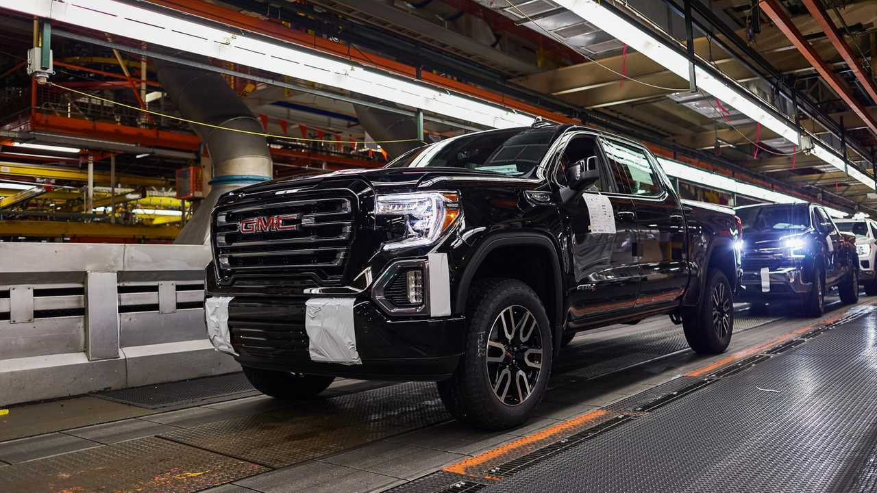 GMC Sierra 1500 pickup on the assembly line at the General Motors Fort Wayne Assembly plant