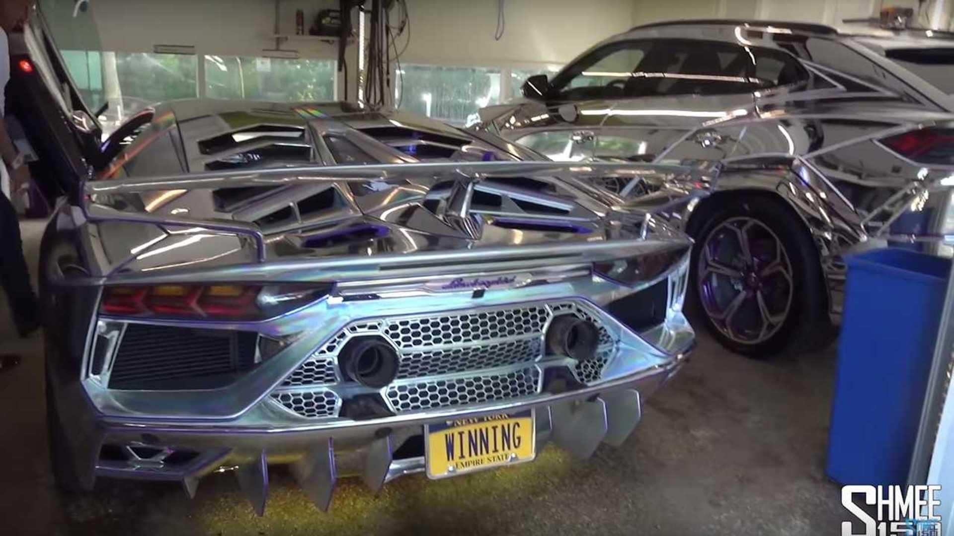 Chrome Lamborghini Urus, Aventador SVJ Make For A Flashy Duo
