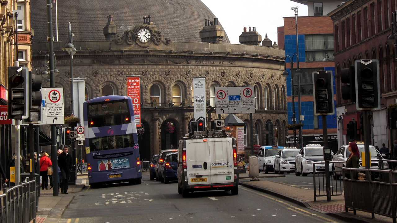 Traffic in Leeds City Centre West Yorkshire England