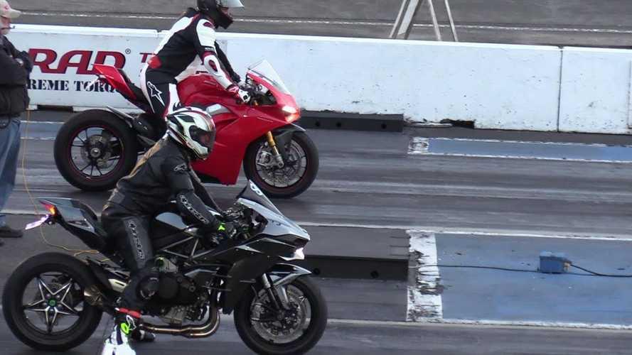 Watch A Kawasaki H2 Beat A Ducati Panigale V4 At The Strip