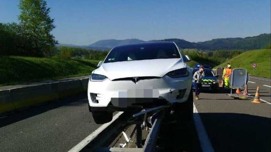 Flying Tesla Model X Lands On Rails
