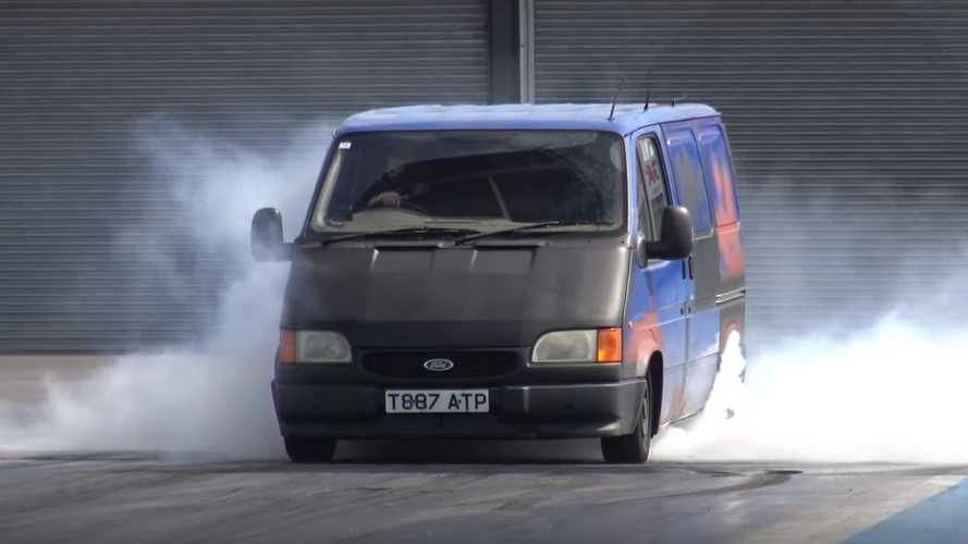 Old Ford Transit van reveals surprise at UK drag strip