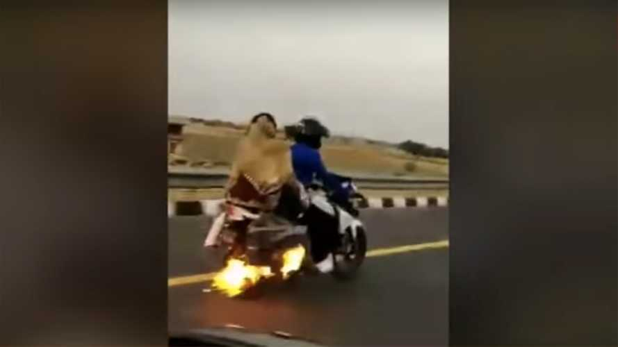 Video: Excuse Me, Sir, But Your Motorcycle Is On Fire