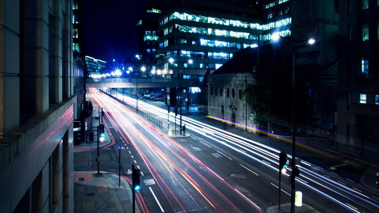 Cars lights on London street at night