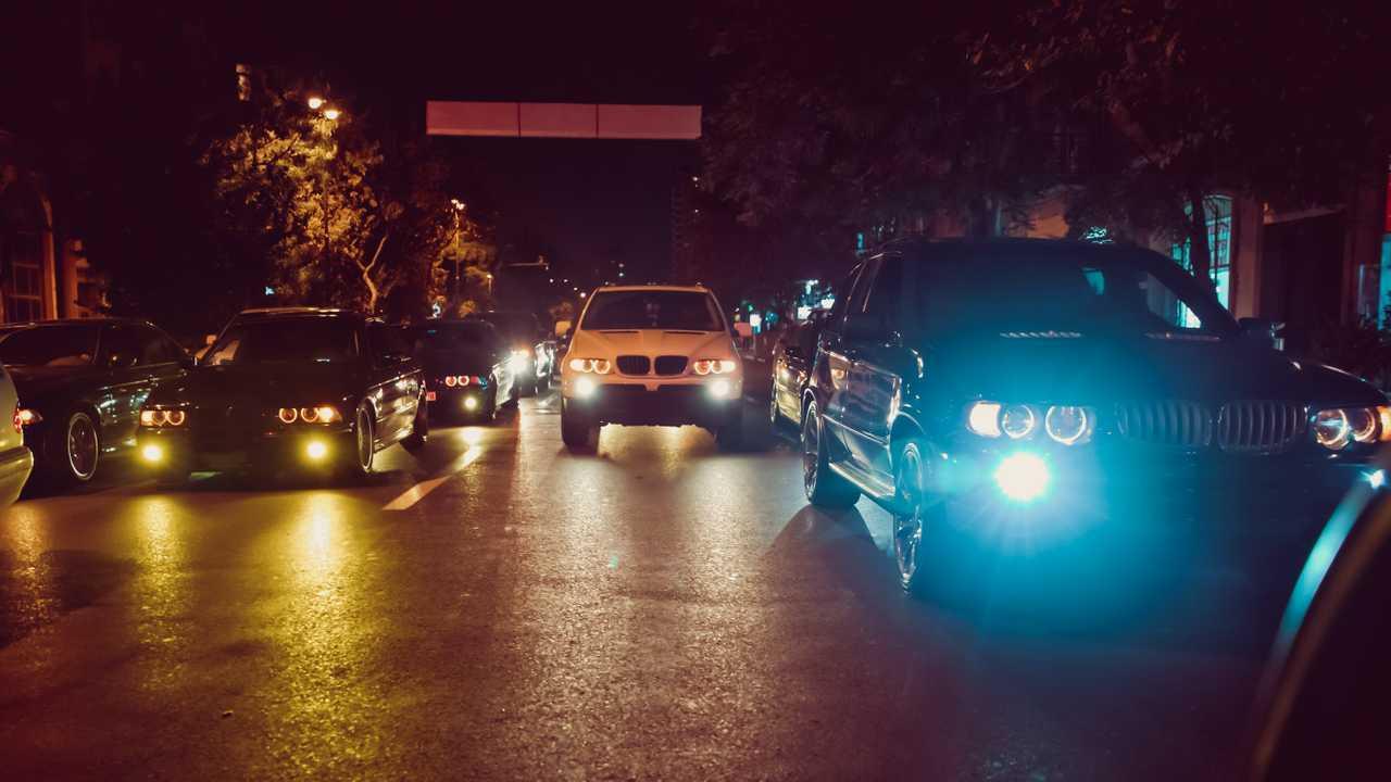 Cars in the night traffic jam